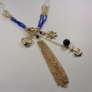 NAUTICAL GOLD TONE BLUE AND GOLD SEA LIFE NECKLACE